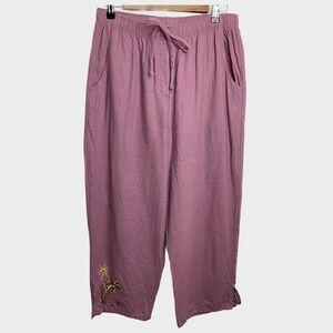 Courtenay Vintage Linen Embroidered Lavender Pants